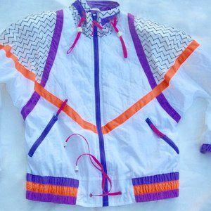 VTG 80s Ski Parka Neon Bright Parachute Nylon